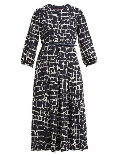 Max Mara Studio - Zannata Dress - Womens - Navy Print