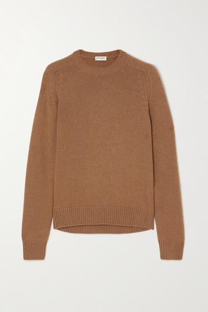 SAINT LAURENT - Camel Wool Sweater - Brown