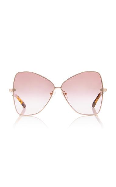 Karen Walker Queen Cat-Eye Gold-Tone Sunglasses in brown