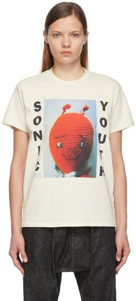 R13 Off-White Sonic Youth Dirty Boy T-Shirt in ecru