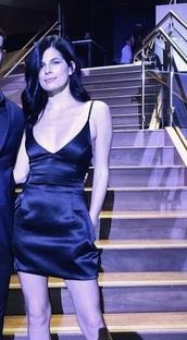 dress,spaghetti strap,low cut,silk,silk dress,black dress,black,mini dress