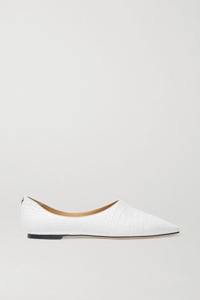Jimmy Choo - Joselyn Croc-effect Leather Ballet Flats - White