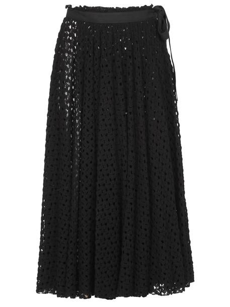 Jil Sander Embroidered Skirt in black