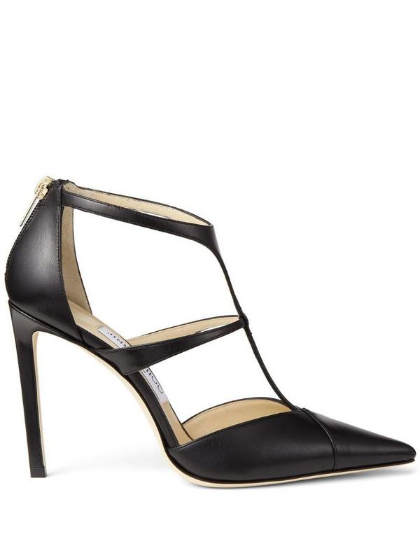 Jimmy Choo strappy leather stiletto heels in black
