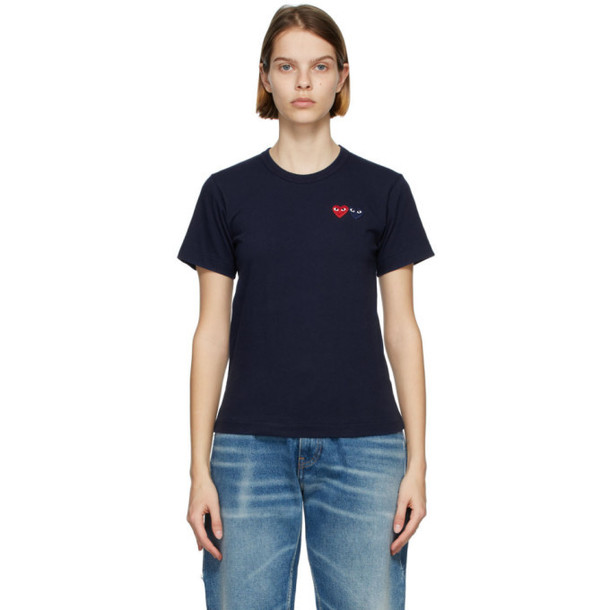 Comme des Garcons Play Navy and Red Double Heart T-Shirt