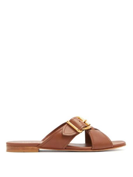 Prada - Buckled Cross Over Leather Slides - Womens - Tan