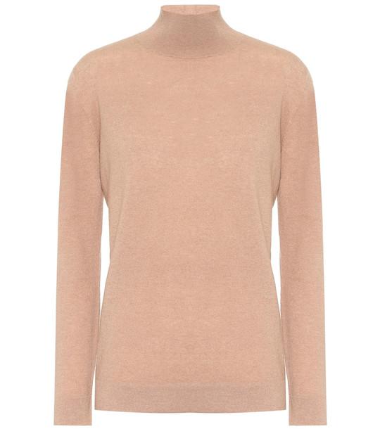Agnona Cashmere turtleneck knit sweater in beige