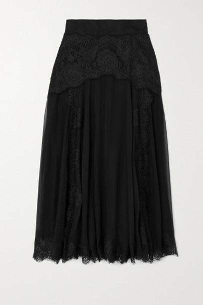 Dolce & Gabbana - Lace And Silk-blend Chiffon Midi Skirt - Black