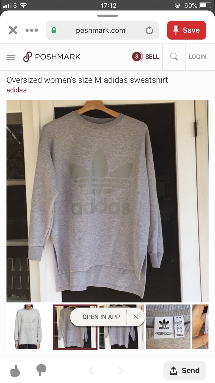 sweater adidas oversized women's sweatshirt size medium