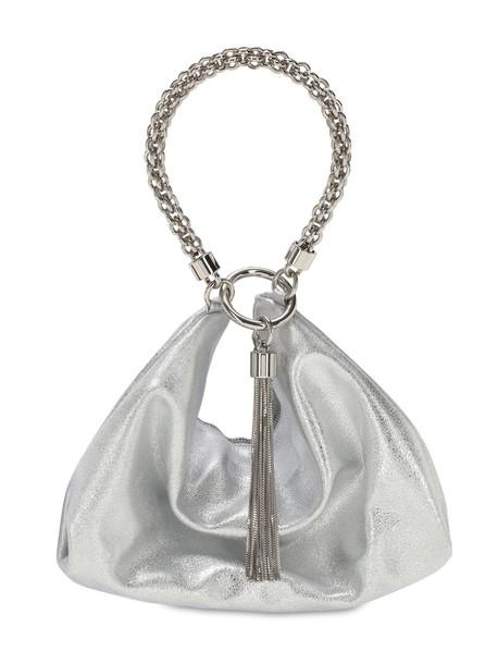 JIMMY CHOO Callie Metallic Leather Bag in silver