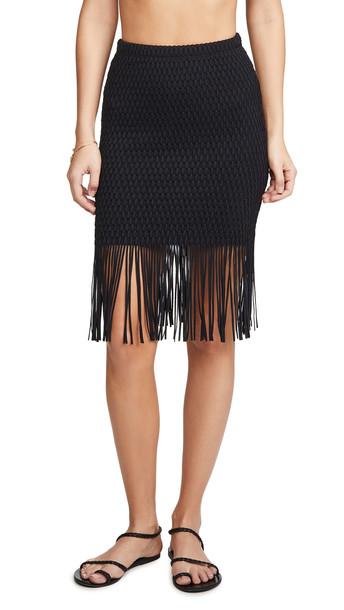 Sara Cristina Caribe High Waisted Fringe Skirt in black