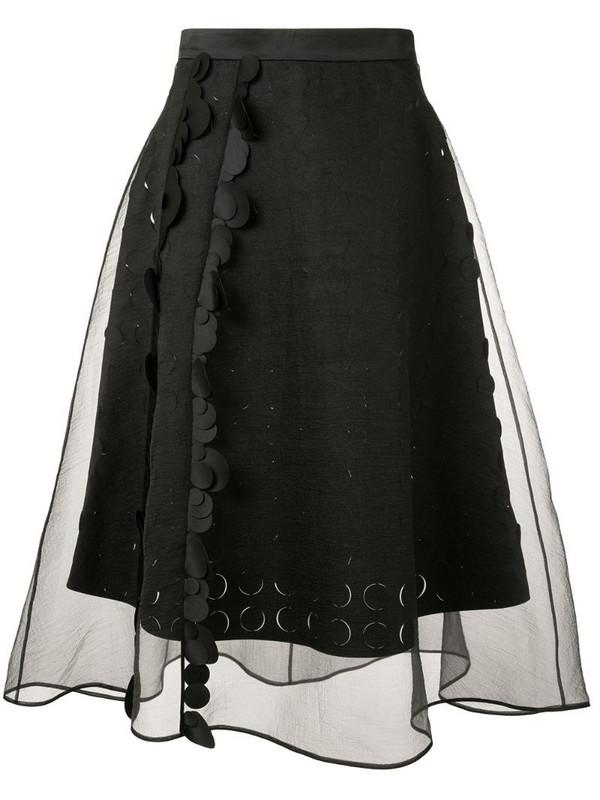 Paskal sheer panelled flared skirt in black