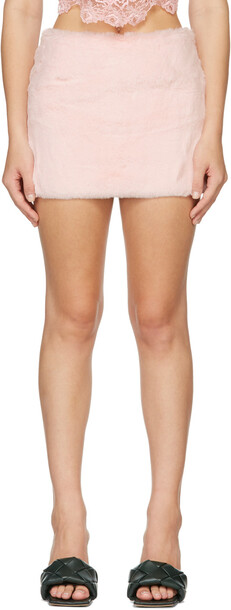 Blumarine Pink Faux-Fur Skirt