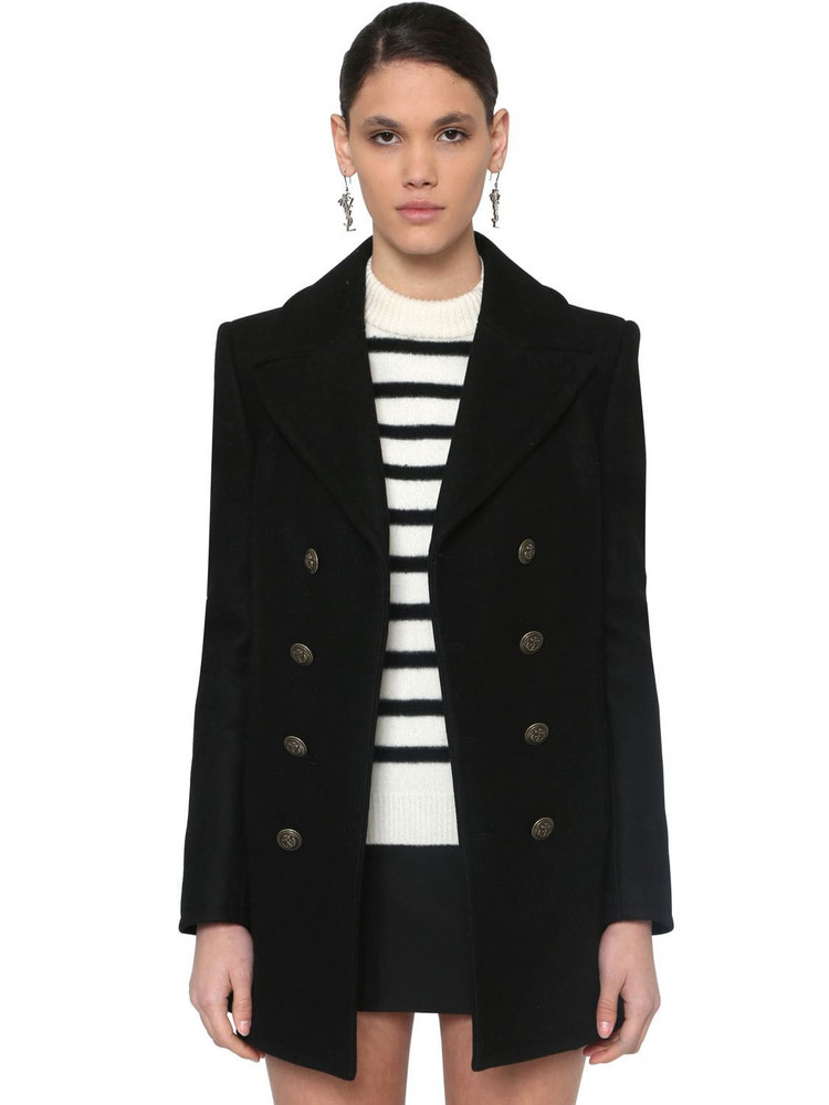SAINT LAURENT Double Breasted Wool Pea Coat in black