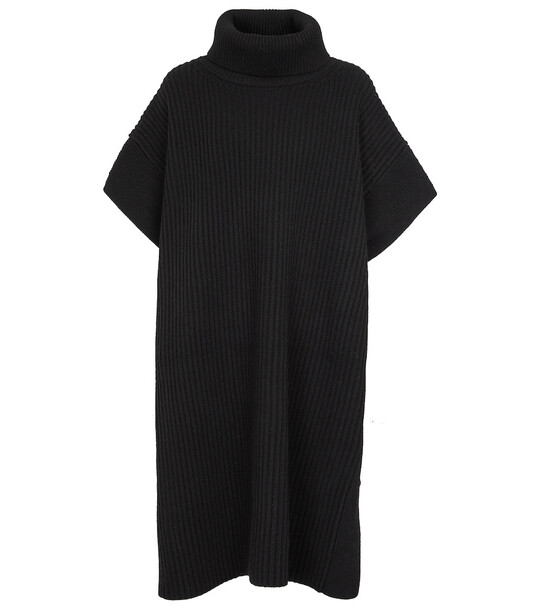 JOSEPH Turtleneck wool poncho in black