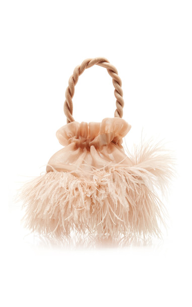 Staud Grace Ostrich Feather Top Handle Bag in neutral
