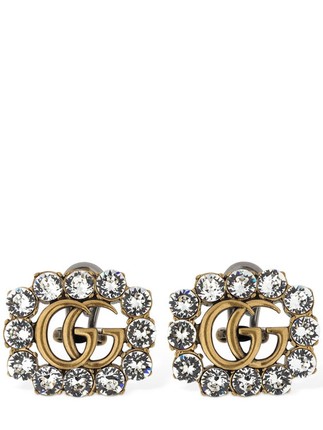GUCCI Gg Marmont Crystal Clip-on Earrings in gold