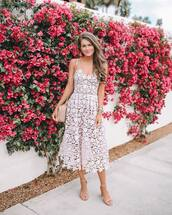 dress,midi dress,lace dress,white dress,sandals,shoulder bag