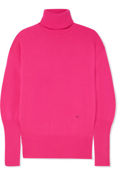 Victoria Beckham - Cashmere-blend Turtleneck Sweater - Fuchsia