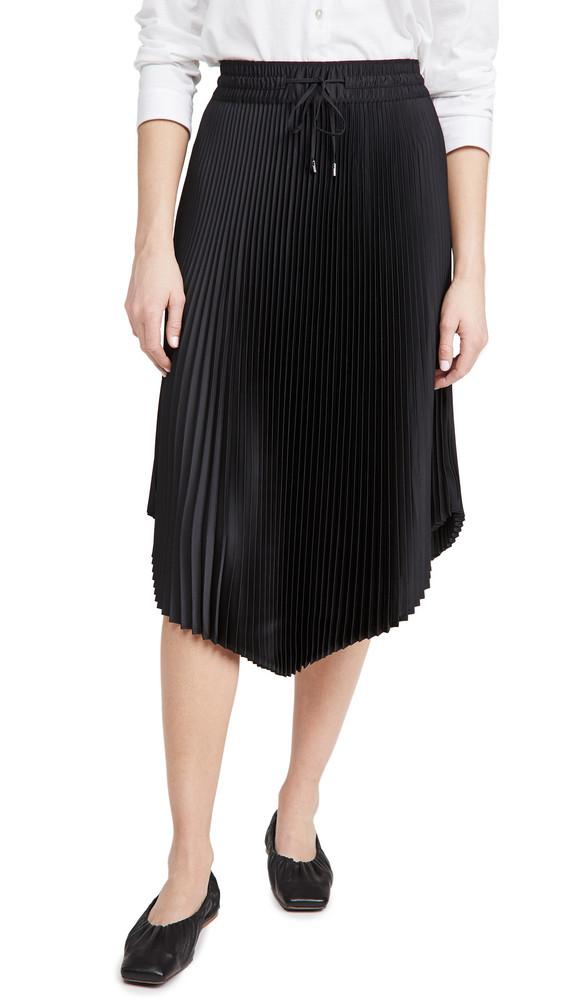 Club Monaco Pleated Scoop Hem Skirt in black