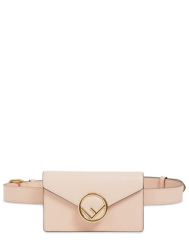 FENDI Logo Leather Belt Bag in rose