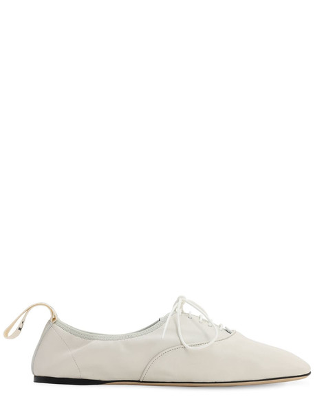 LOEWE 10mm Soft Leather Lace-up Derby Flats in white