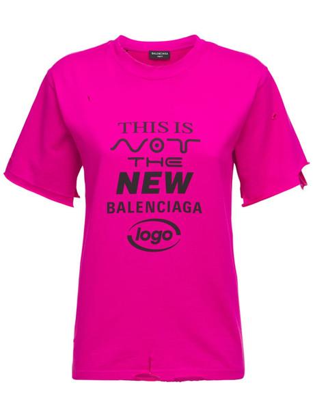 BALENCIAGA Printed Cotton Blend Jersey T-shirt in fuchsia
