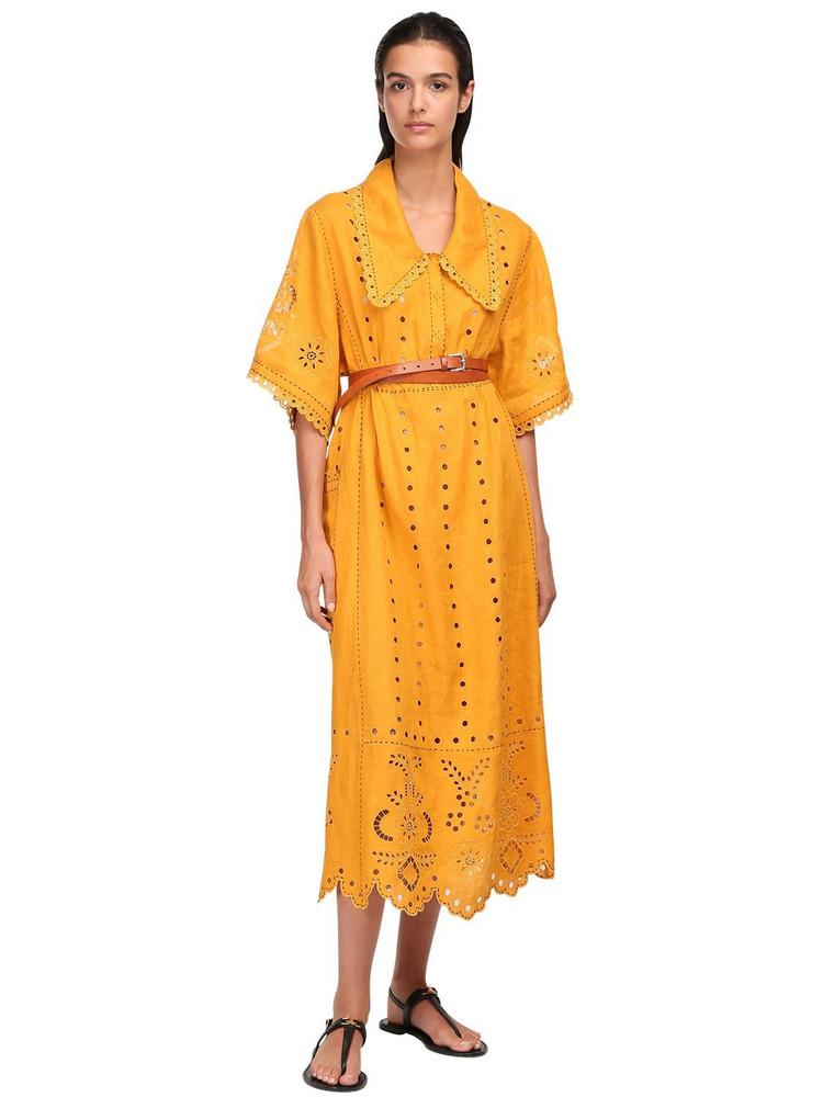 VITA KIN Eyelet Lace Linen Midi Dress in orange