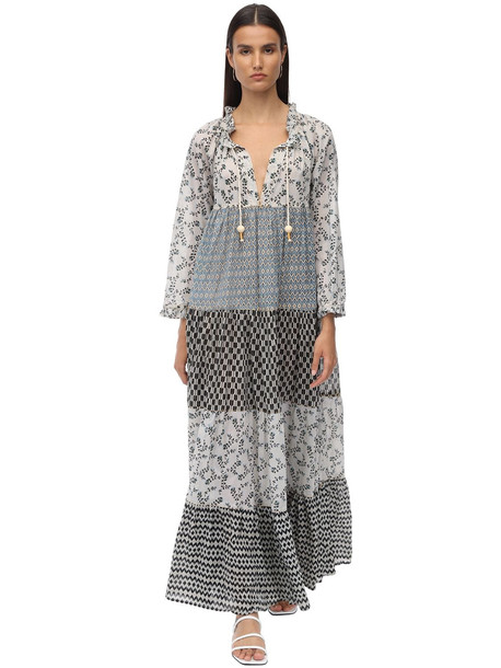 YVONNE S Cotton Voile Maxi Hippy Dress in blue / white