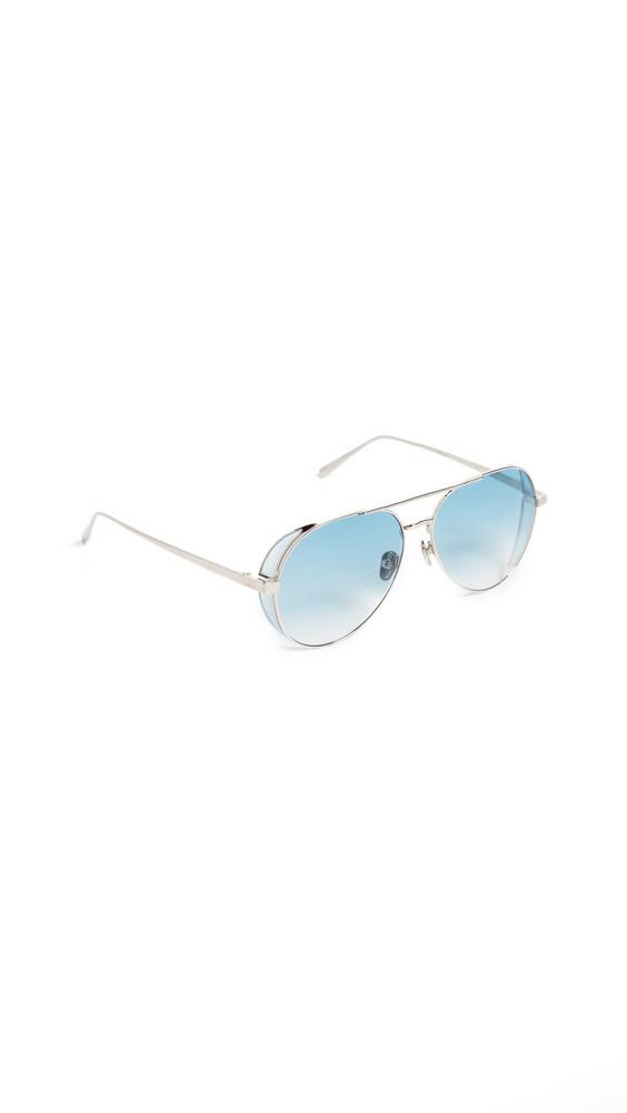 Linda Farrow Luxe Aviator Sunglasses in blue / gold