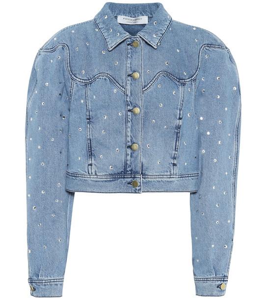 Philosophy Di Lorenzo Serafini Embellished cropped denim jacket in blue