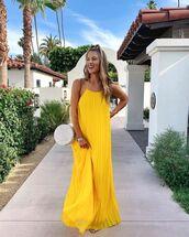 dress,maxi dress,yellow dress,sleeveless dress,pleated dress,sandals,round bag