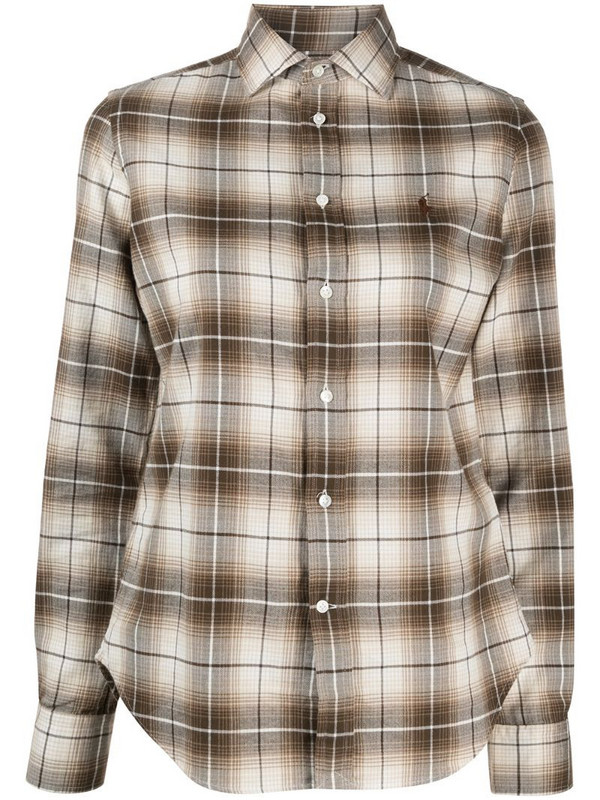 Polo Ralph Lauren Polo Pony embroidered check-print shirt in neutrals