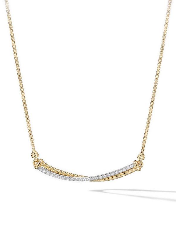David Yurman 18kt yellow gold Crossover Bar diamond necklace