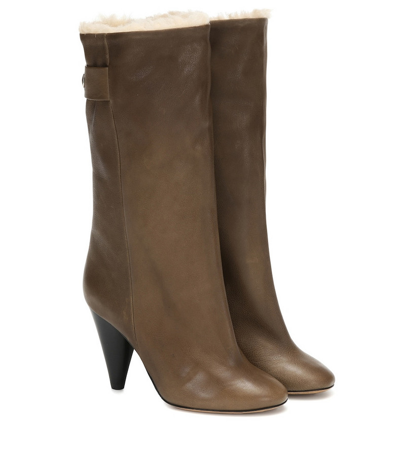Isabel Marant Lafkee 90 shearling-lined ankle boots in green
