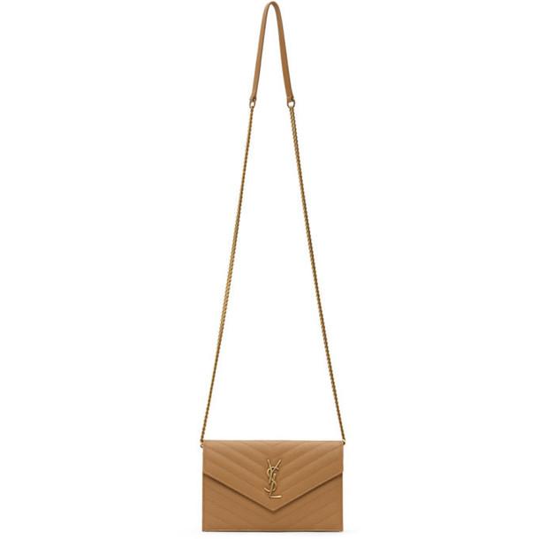 Saint Laurent Tan Monogramme Envelope Chain Wallet Bag