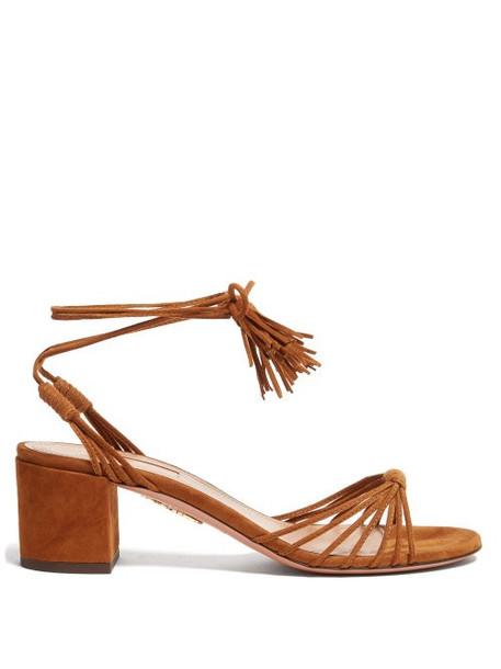 Aquazzura - Mescal 50 Wrap Around Suede Sandals - Womens - Tan