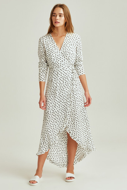 THE FIFTH KALEIDOSCOPE WRAP DRESS ivory w black floral