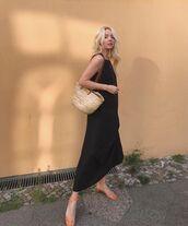 dress,maxi dress,black dress,bag,summer dress