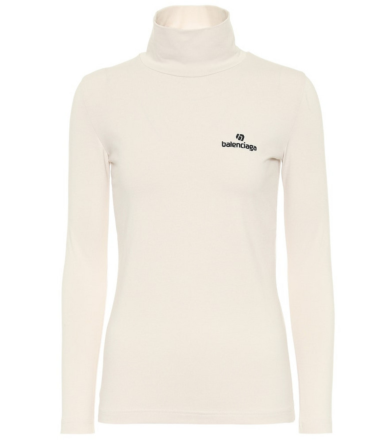 Balenciaga Logo stretch-cotton turtleneck top in white