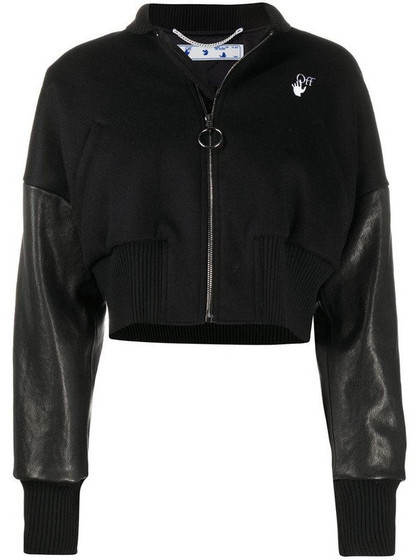 Off-White floral Arrows cropped jacket in black