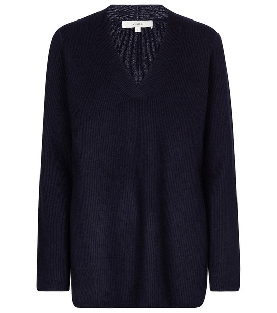 Vince Ribbed-knit wool and cashmere sweater in blue