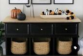 home accessory,fall outfits,pumpkin,spiders,baskets,black,orange,black table,halloween,home decor