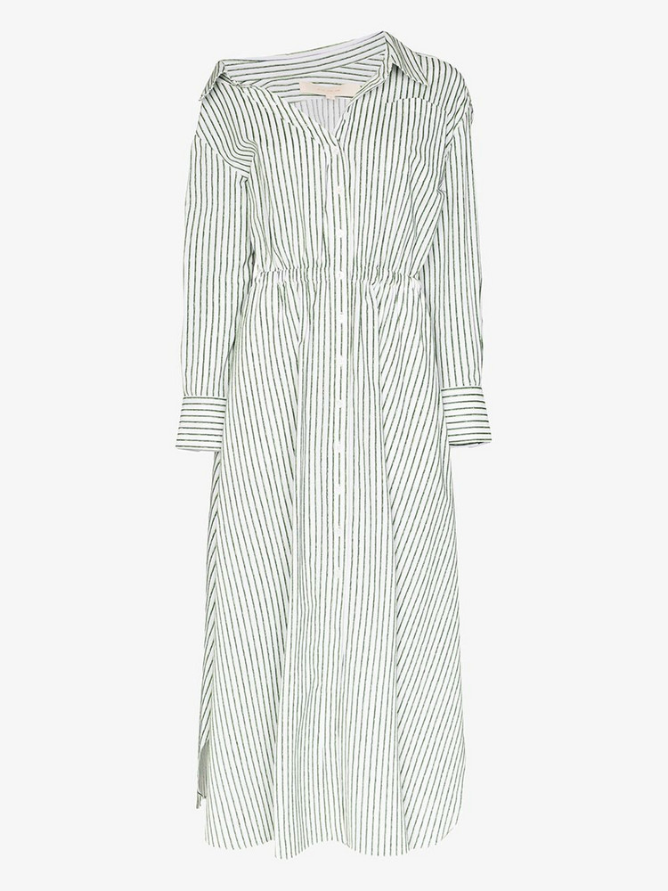 By Any Other Name falling off the shoulder stripe dress in green