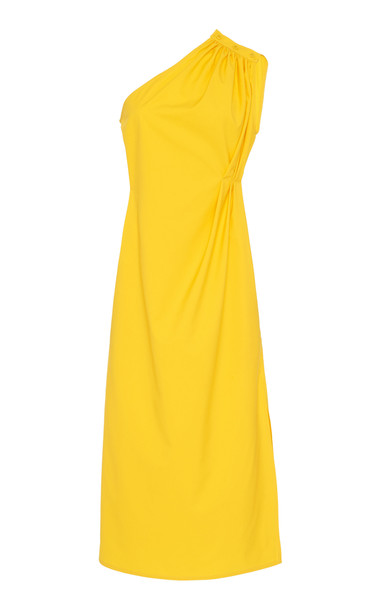 Max Mara Zigrino One-Shoulder Button-Detailed Cotton Dress Size: 6 in yellow