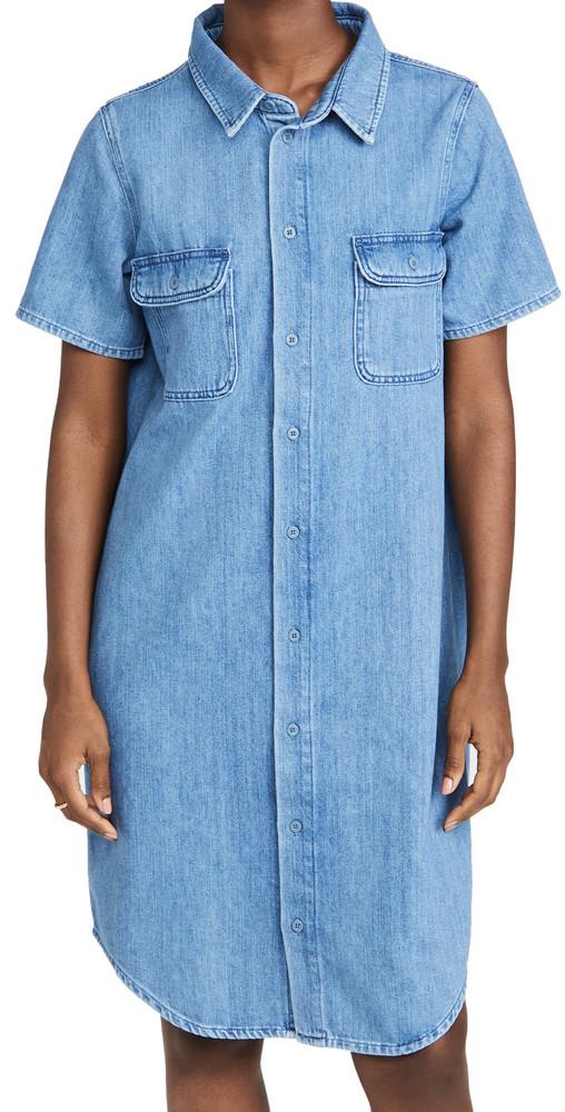 Triarchy Short Sleeve Shirt Dress in indigo