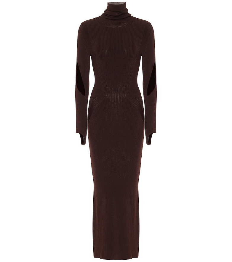 Mugler Stretch-knit turtleneck maxi dress in brown