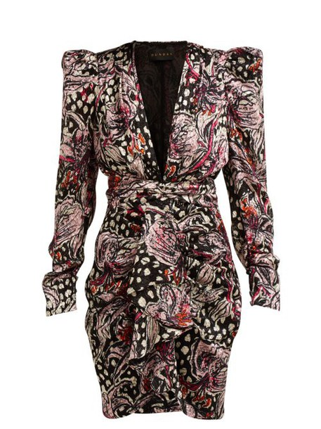 Dundas - Lily Print Velvet Devoré Mini Dress - Womens - Black Multi