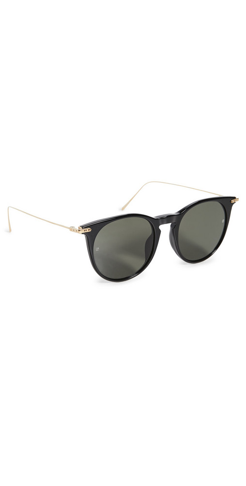 Linda Farrow Luxe Ellis Round Sunglasses in black / gold / grey