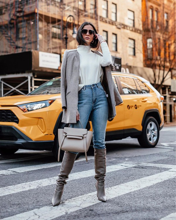 shoes grey boots skinny jeans knee high boots white sweater grey coat